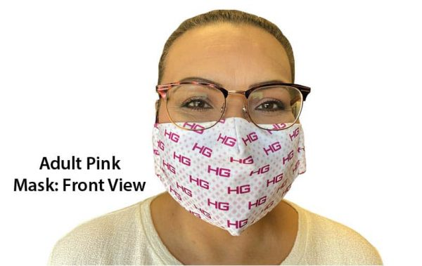 Adult Pink Hearing Aid Friendly Mask Front View