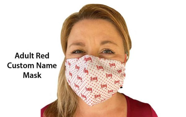 Adult Red Hearing Aid Friendly Mask Front View