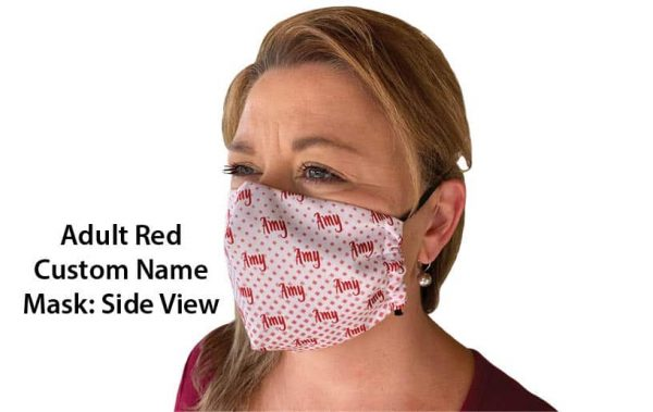 Adult Red Hearing Aid Friendly Mask Side View